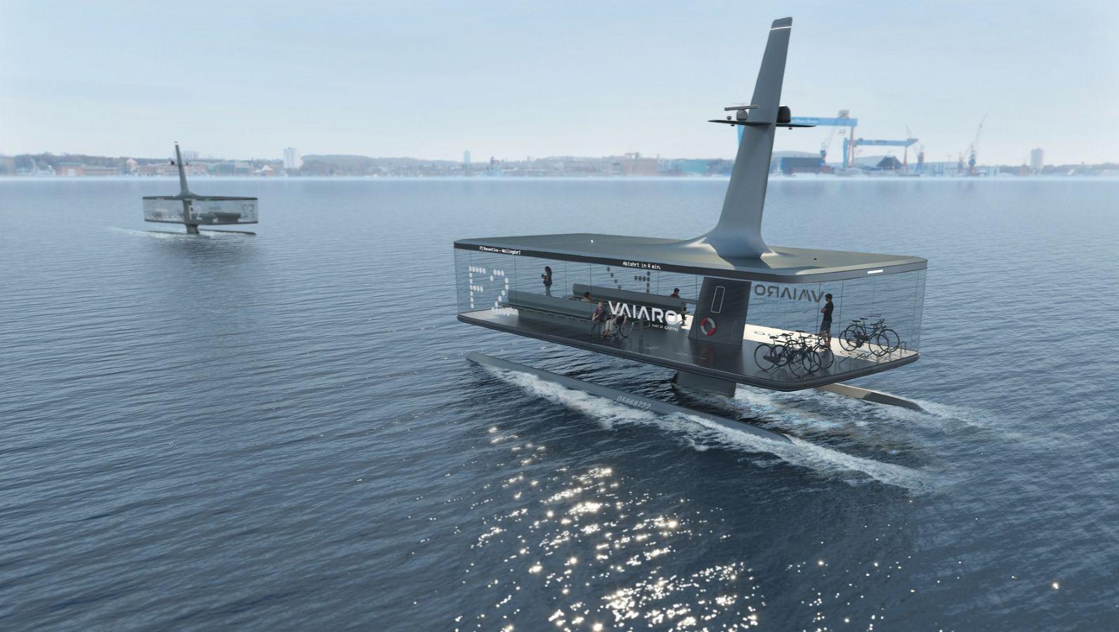 Designkonzept einer Personenfähre mit dem Namen Floating Platform auf der Kieler Förde.