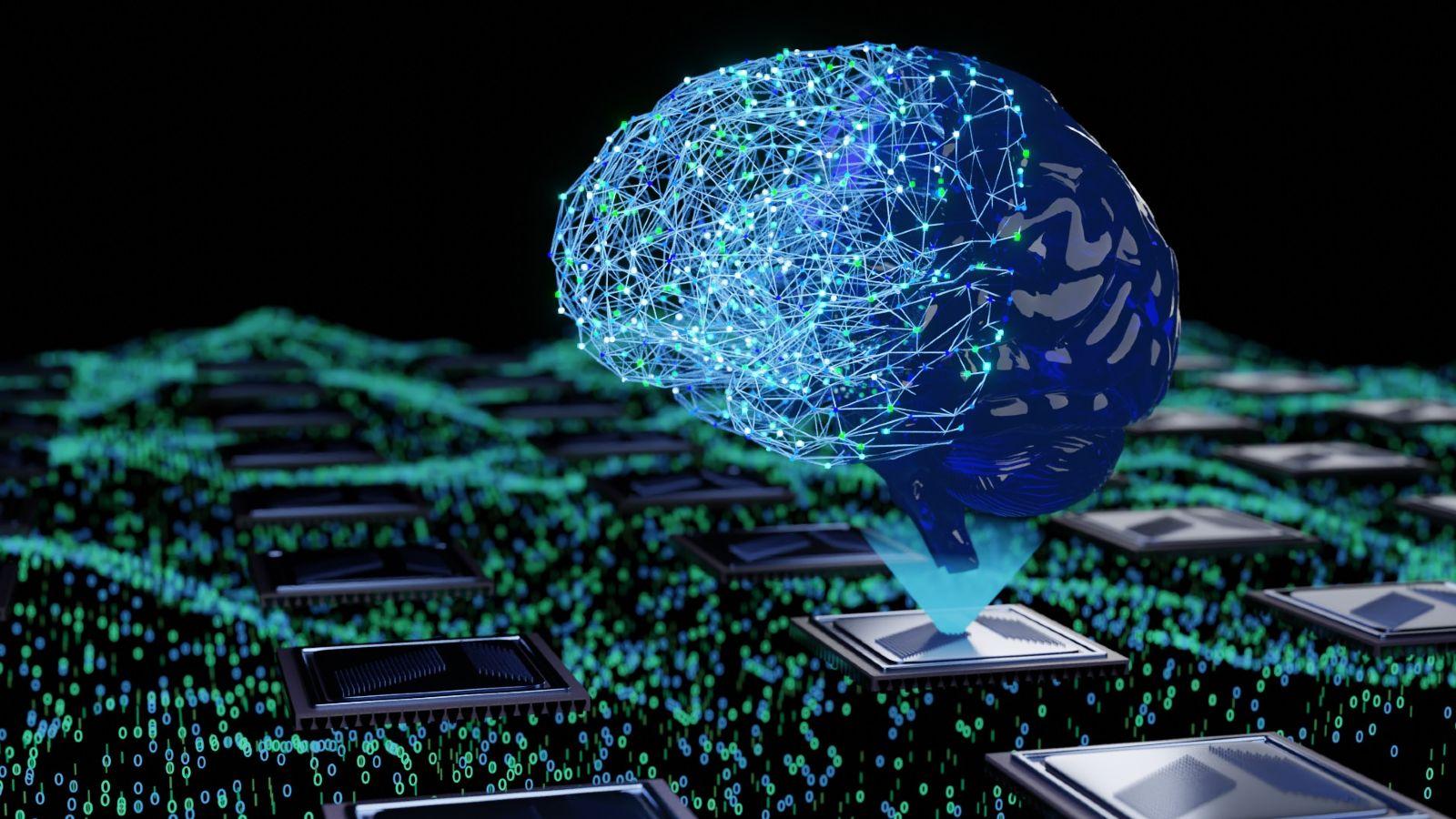 Die KI wird durch ein Netzwerk von Punkten mit der Form eines Gehirns dargestellt. Diese neuromorphe Form geht aus der schematischen Darstellung eines Chips hervor. Als Hintergrund: ein