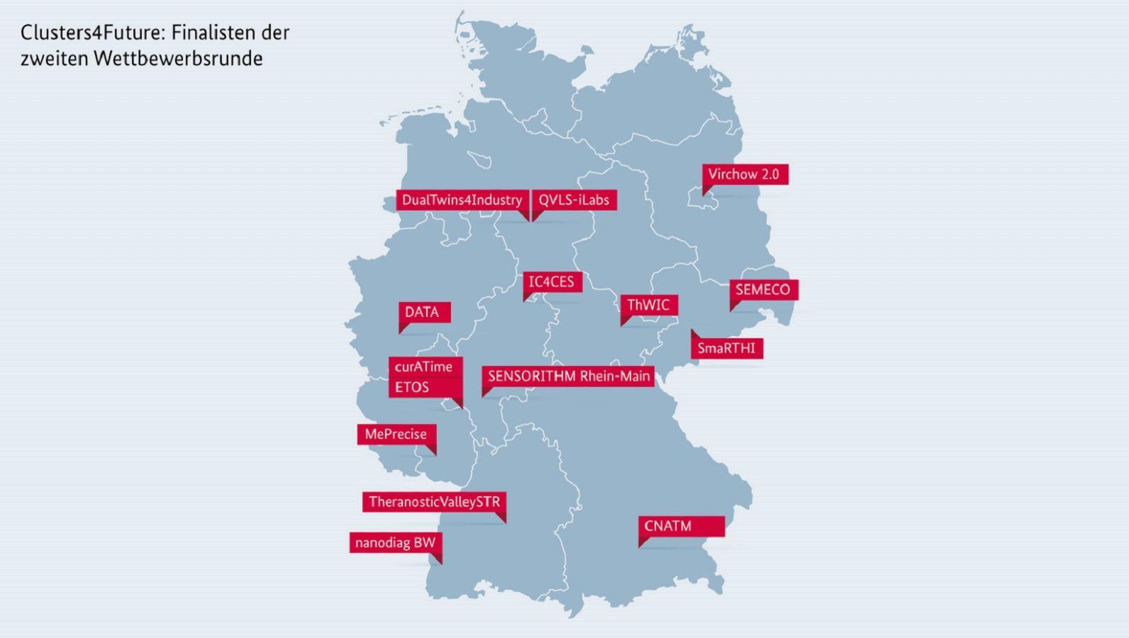 Deutschlandkarte mit den Standorten der Finalisten der 2. Wettbewerbsrunde (©PtJ Grafik)