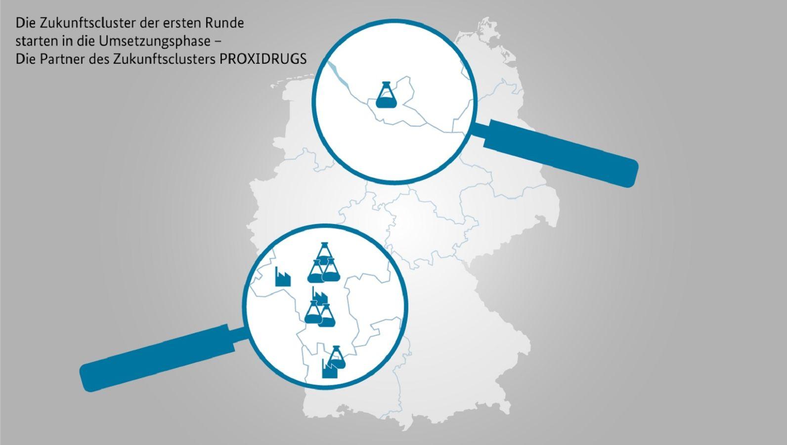 Start in die Umsetzungsphase: Deutschandkarte mit den Standorten der Partner des Zukunftsclusters PROXIDRUGS (©Projektträger Jülich, Forschungszentrum)
